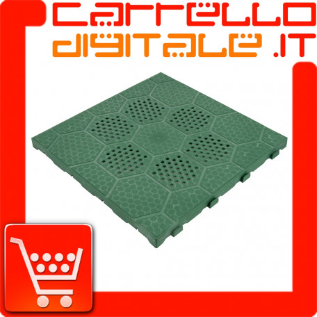 Piastrella pavimento plastica verde drenante 400x400x25mm E40V per giardino