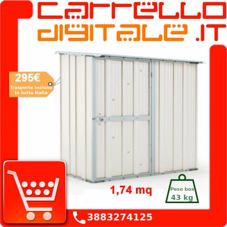 Box in Acciaio Zincato Casetta da Giardino in Lamiera 1.74 x 1.00 m x h1.82 m - 43 KG – 1.74 metri quadri - BIANCO