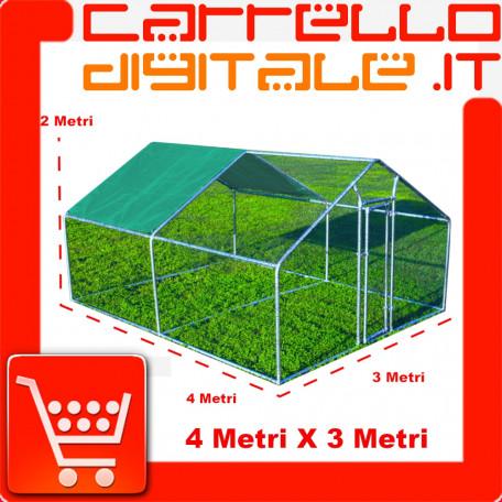 Gabbia per animali da esterno - Recinto per Polli 3 x 4m x 2m H  - 12 mq - 73Kg