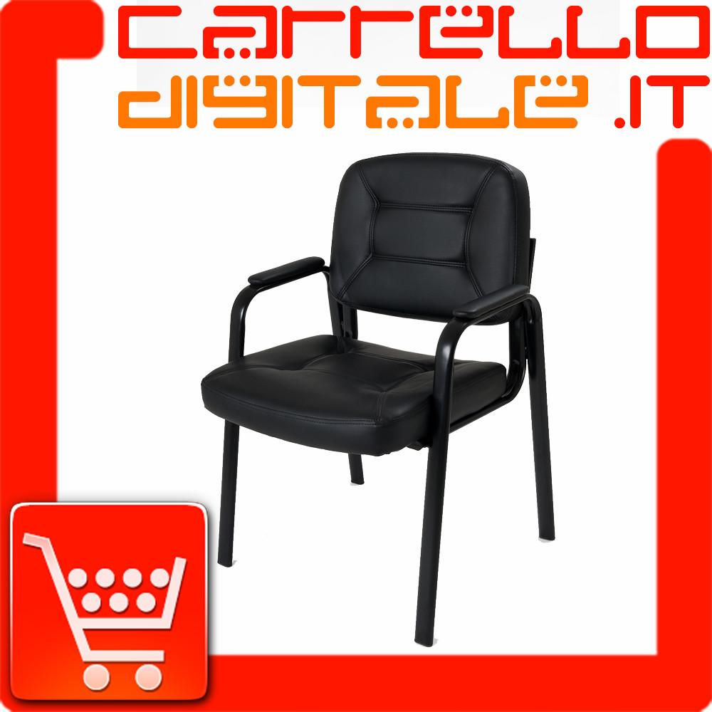 Sedia imbottita per ospite in eco pelle carrello digitale for Sedia per sala d attesa