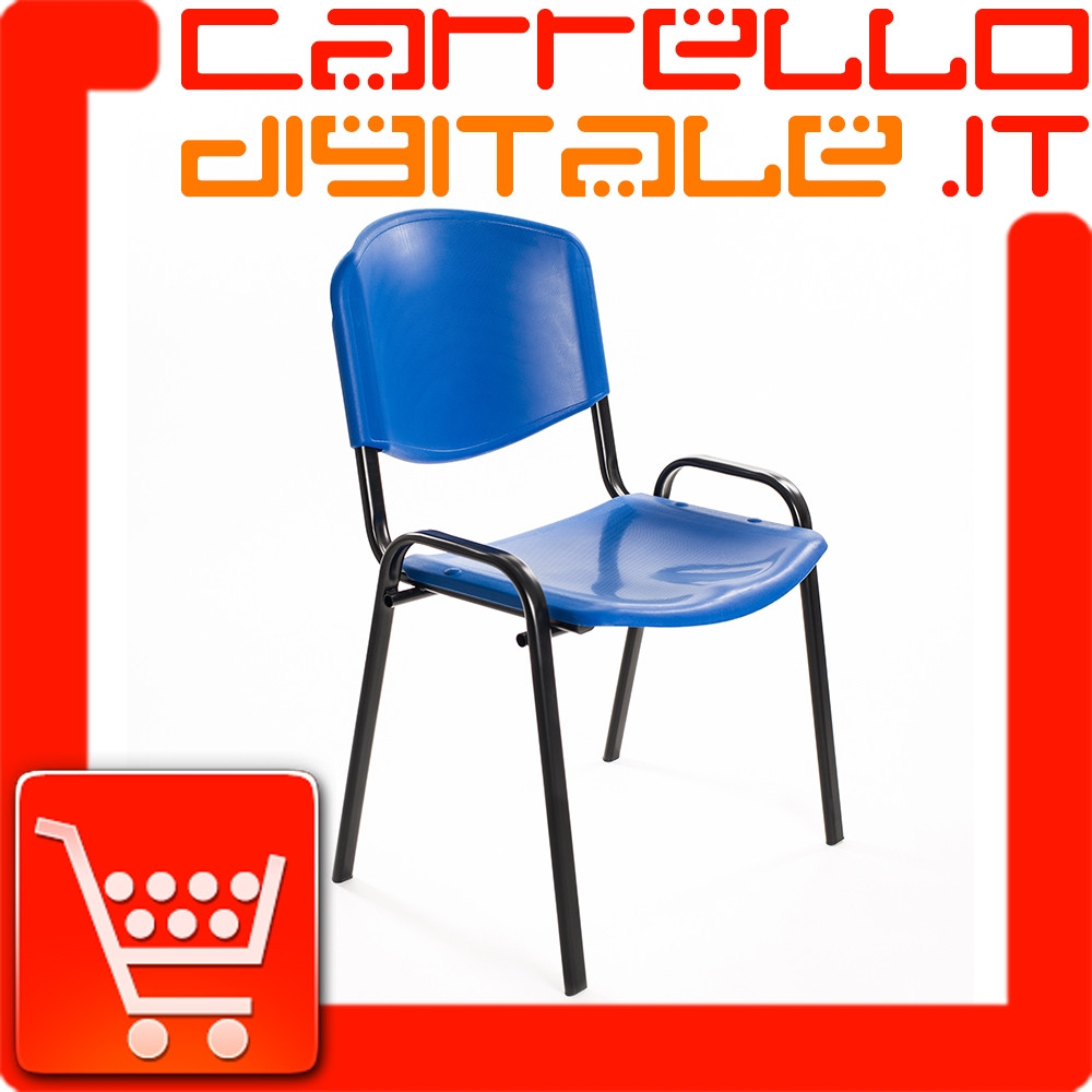 Sedie Riunione Ufficio.Sedia Impilabile In Plastica Blu Ufficio Riunione Attesa