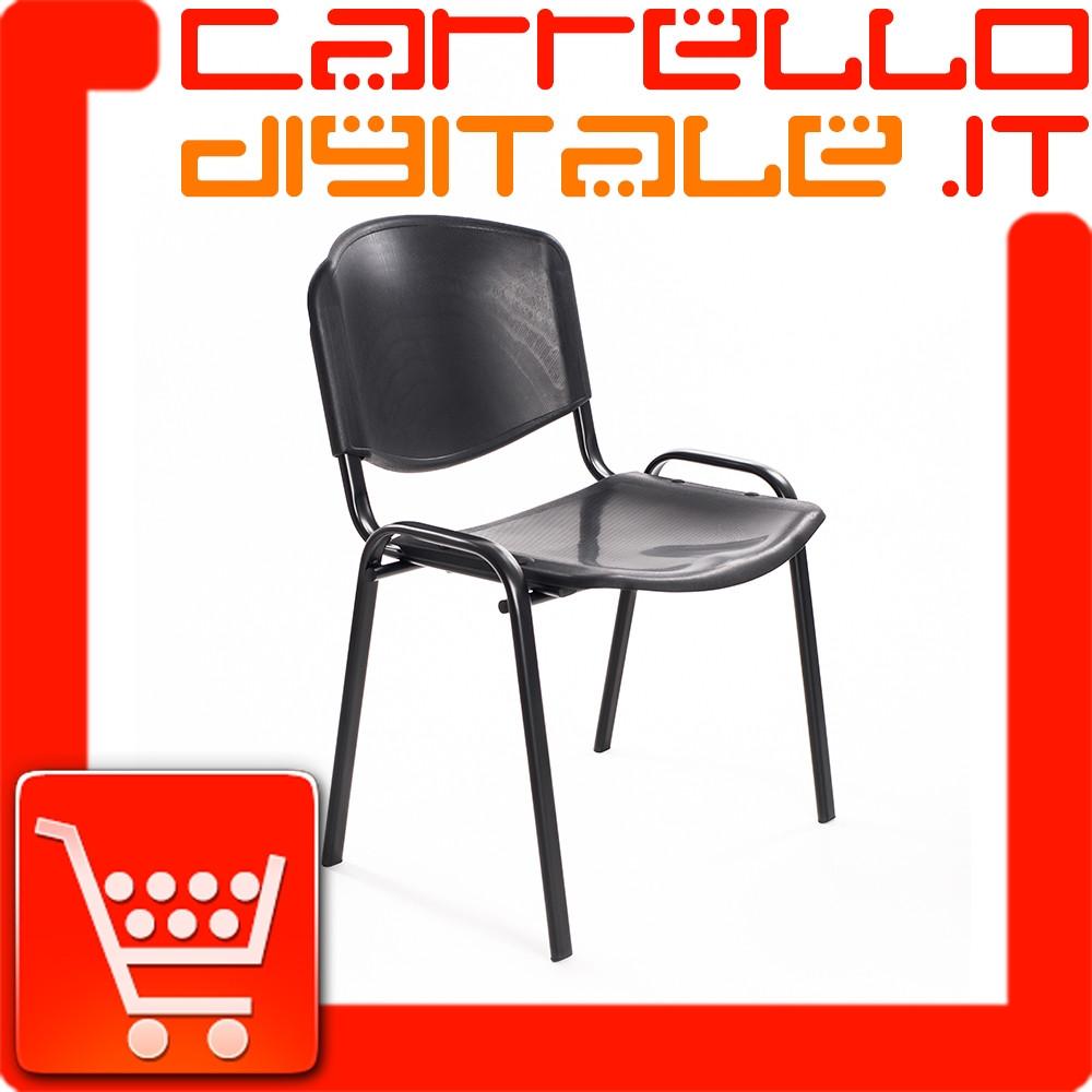 Sedie Di Plastica Impilabili.Set 6 Sedie Attesa In Plastica Nera Carrello Digitale