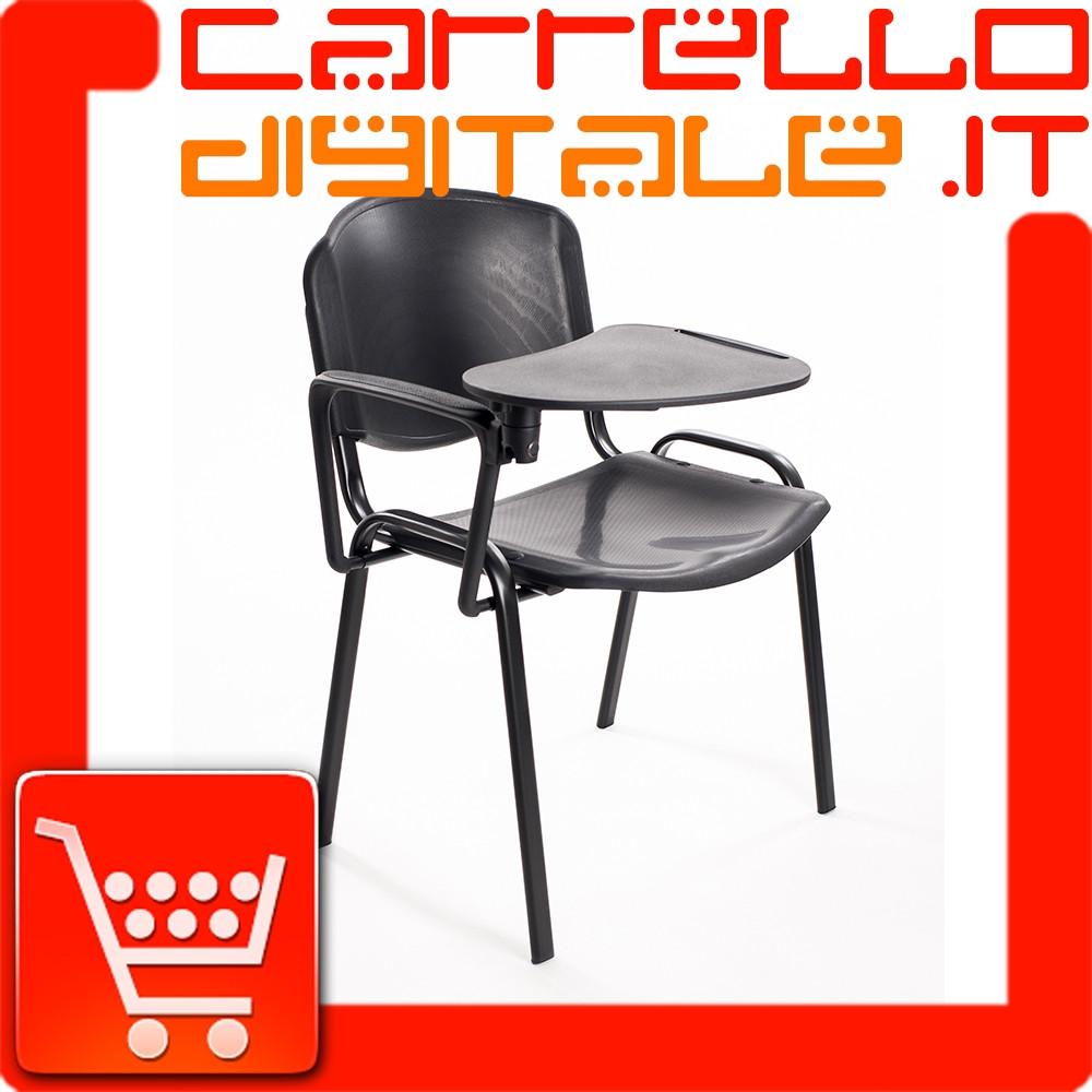 Sedie Da Ufficio Plastica.Sedie Ufficio Con Tavoletta In Plastica Nera Carrello Digitale