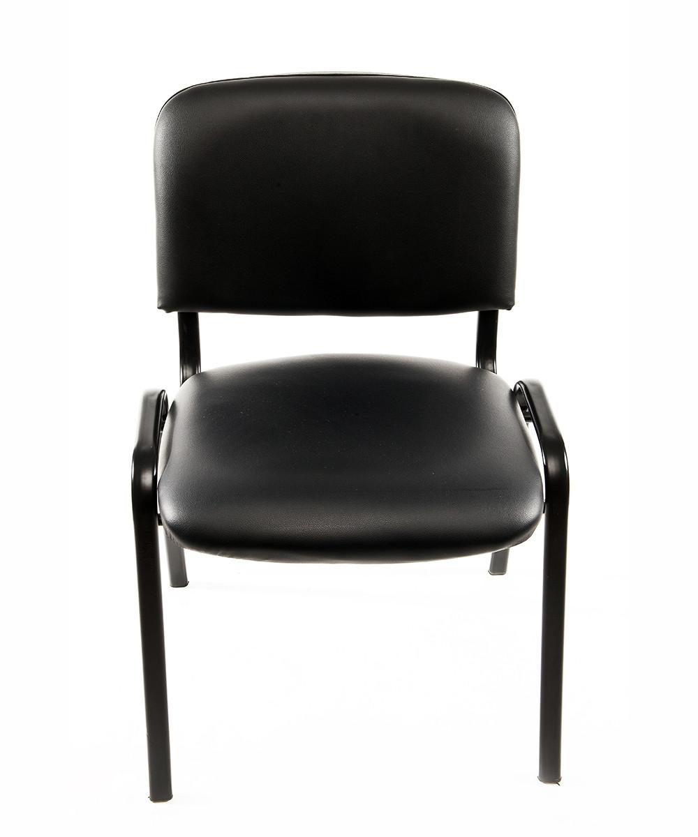 Sedia ufficio per ospite in ecopelle nera carrello digitale for Sedie nere ecopelle