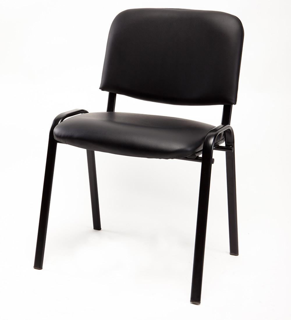 Sedia ufficio per ospite in ecopelle nera carrello digitale for Sedia per sala d attesa