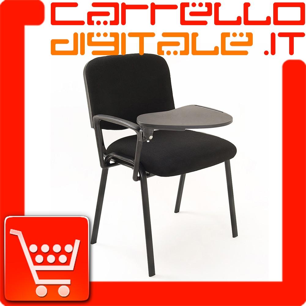 Sedia con scrittoio in tessuto nero | Carrello Digitale