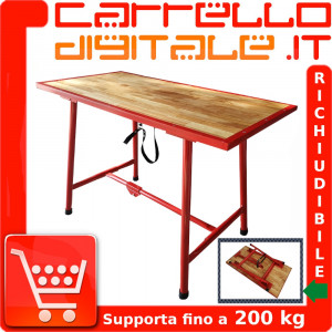 Banco tavolo lavoro pieghevole in legno e acciaio officina fai da te Dimensioni 120 x 62,5 x 83 cm