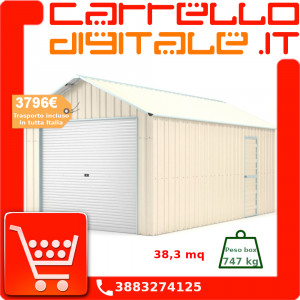 Box in Acciaio Zincato Casetta da Giardino in Lamiera Box Auto 3.60 x 10.64 m x h3.07 m - 747 KG - 38.3 metri quadri - BEIGE