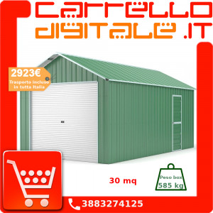 Box in Acciaio Zincato Casetta da Giardino in Lamiera Box Auto 4.38 x 7.21 m x h3.24 m - 585 KG – 31,6 metri quadri - VERDE