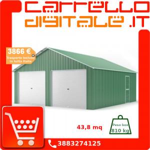 Box in Acciaio Zincato Casetta da Giardino in Lamiera Box Auto 6.64 x 7.21 m x h3.72 m - 810 KG – 48 metri quadri - VERDE