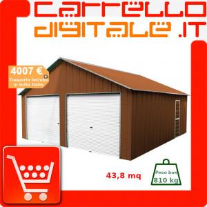 Box in Acciaio Zincato Casetta da Giardino in Lamiera Box Auto 6.64 x 7.21 m x h3.72 m - 810 KG – 48 metri quadri - LEGNO