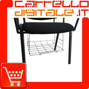 Grigia portariviste, giornali  cestino in metallo adatto per tutte le sedie in plastica, tessuto, ecopelle con o senza ribaltina
