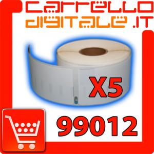 Etichette Compatibili con Dymo 99012 Bixolon Seiko 5 Rotoli