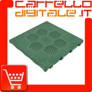Kit Piastrelle pavimento resina verde drenante per Box In Acciaio Zincato Casetta da Giardino in Lamiera 6.64 x 7.21 m x h3.72 m