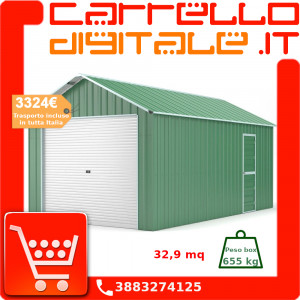 Box in Acciaio Zincato Casetta da Giardino in Lamiera Box Auto 3.60 x 9.12 m x h3.07 m - 655 KG - 32.9 metri quadri - VERDE