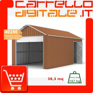 Box in Acciaio Zincato Casetta da Giardino in Lamiera Box Auto 3.60 x 10.64 m x h3.07 m - 747 KG - 38.3 metri quadri - LEGNO