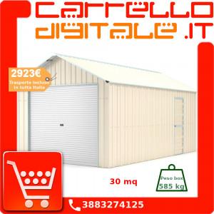 Box in Acciaio Zincato Casetta da Giardino in Lamiera Box Auto 4.38 x 7.21 m x h3.24 m - 585 KG – 31,6 metri quadri - BEIGE
