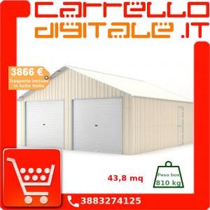 Box in Acciaio Zincato Casetta da Giardino in Lamiera Box Auto 6.64 x 7.21 m x h3.72 m - 810 KG – 48 metri quadri - BEIGE