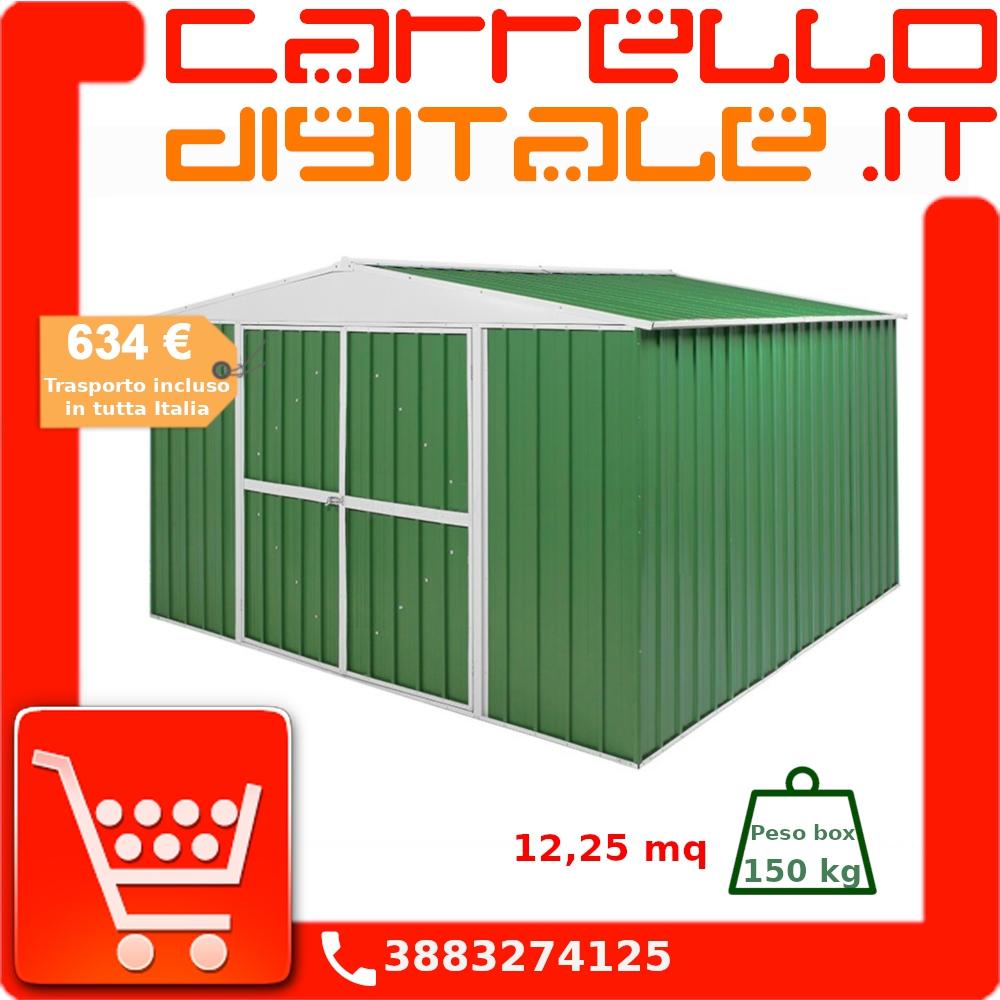 Costo Profilati Ferro Al Kg box in acciaio zincato casetta da giardino in lamiera 3.60 x 3.45 m x h2.12  m - 150 kg – 12,25 metri quadri - verde