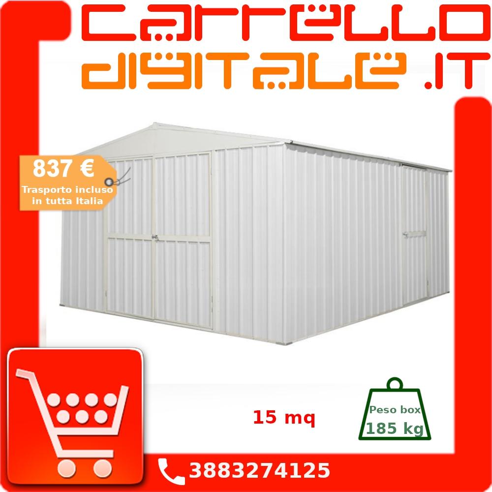 Costo Profilati Ferro Al Kg box in acciaio zincato casetta da giardino in lamiera 3.60 x 4.30 m x h2.10  m - 185 kg - 15 metri quadri - bianco