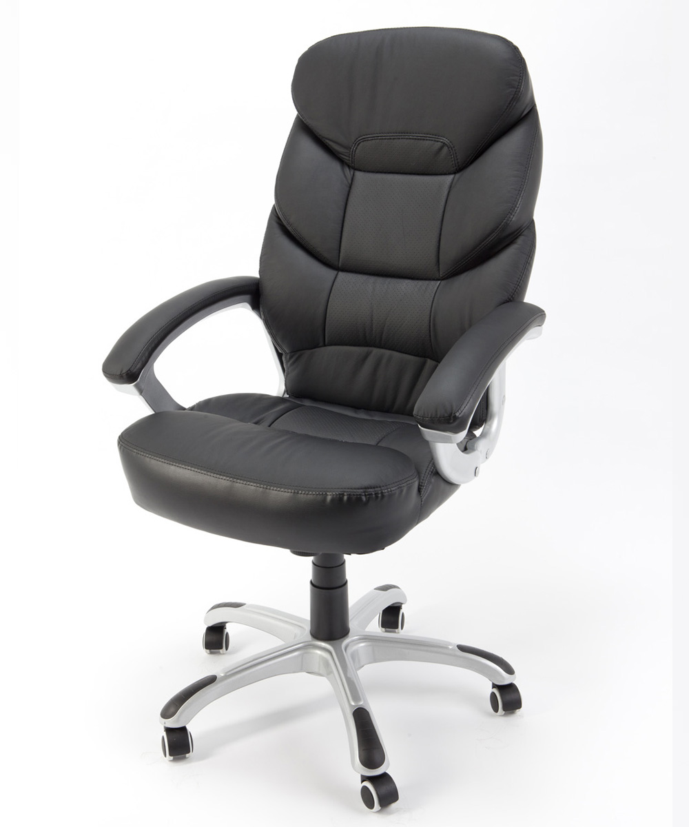 Sedia poltrona presidenziale nera girevole ergonomica per for Poltrone per studio