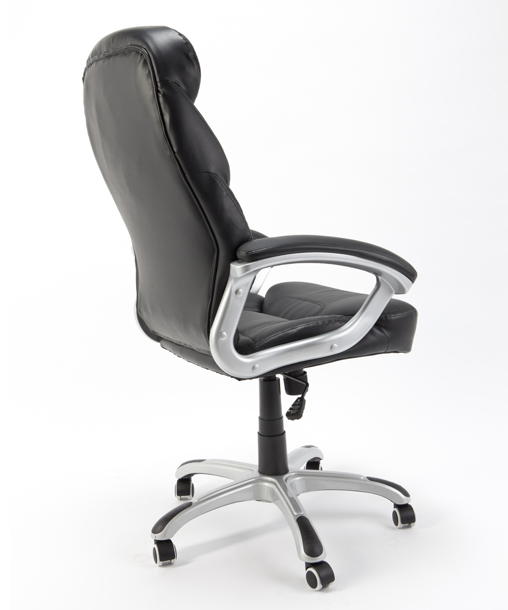 Sedia poltrona presidenziale nera girevole ergonomica per for Sedia ergonomica