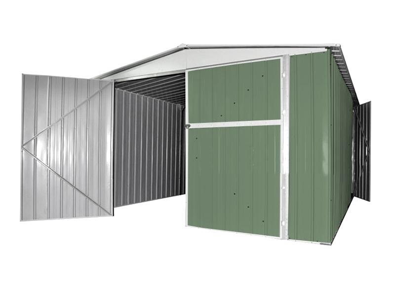 Box in acciaio verde 3 45 x 6 garage auto moto lamiera for Casa con garage laterale